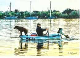 Bill and Clyde rowing in dingy...